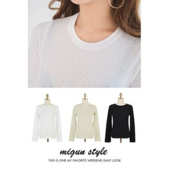 migunstyle - Round-Neck Plain T-Shirt