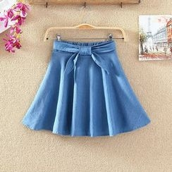Clementine - Elastic Waist A-Line Denim Skirt