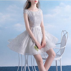 MSSBridal - Lace Appliqué Cap Sleeve Mini Prom Dress
