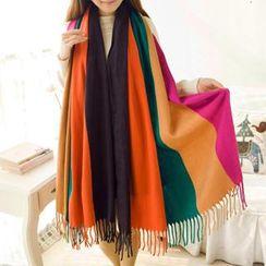 羚羊早安 - 流蘇插色圍巾