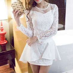 Fashion Street - Lace Panel Long Sleeve Mini Dress