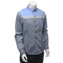 YesStyle M - Long-Sleeved Panel Shirt