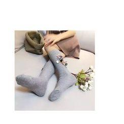 NECTARY - 花形亮片珠饰袜