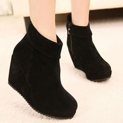 Mancienne - Faux-Suede Wedge Ankle Boots
