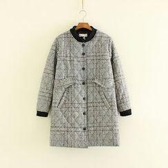 Mushi - Plaid Padded Long Jacket
