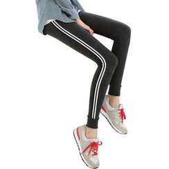 HINCLOUD - Stripe Sports Skinny Pants