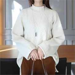 CHICFOX - Mock-Neck Cable Long Sweater