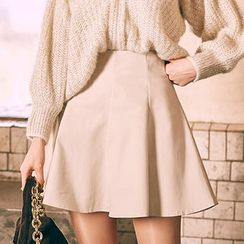 chuu - Paneled Mini Flare Skirt