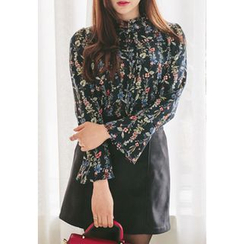 REDOPIN - Frilled-Trim Floral Print Blouse