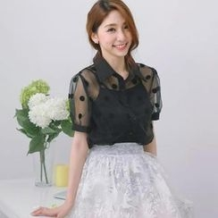 Tokyo Fashion - Polka-Dot Tulle Blouse with Camisole