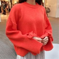 QNIGIRLS - Tie-Sleeve Zigzag-Hem Sweater