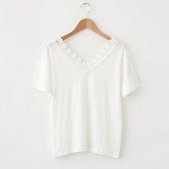 Meimei - Lace Trim V-neck Top