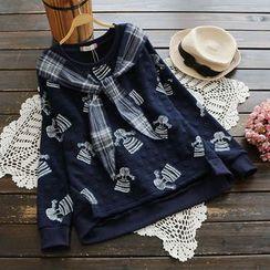 YOYO - Tie-Neck Printed Pullover