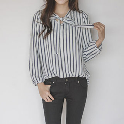 JUSTONE - Tie-Neck Puff-Sleeve Stripe Top