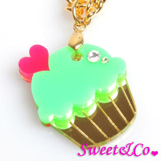 Sweet & Co. - Mini Green Cupcake Crystal Gold Necklace