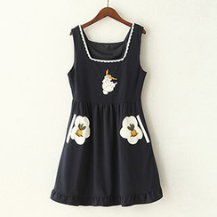 ninna nanna - Rabbit Appliqué Pinafore Dress