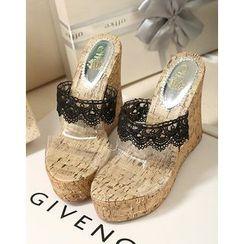 Anran - Lace Trim Wedge Slide Sandals