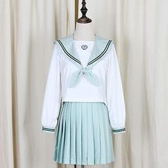 GOGO Girl - Long-Sleeve Sailor Collar Blouse / Pleated Skirt