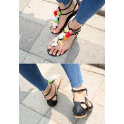 REDOPIN - Pom Pom Thong Sandals