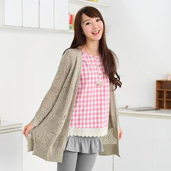 59 Seconds - Open-Knit Long Cardigan