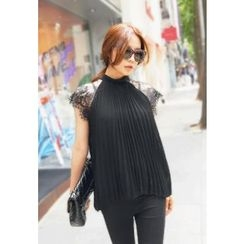 REDOPIN - Lace-Sleeve Pleated Top