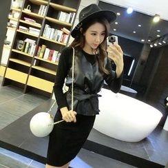 Neon Nite - Set: Long Sleeve Knit Dress + Faux Leather Vest