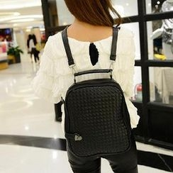 Miss Sweety - Faux-Leather Woven Backpack