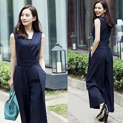 lilygirl - Belted Sleeveless Jumpsuit