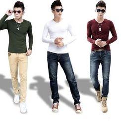 INSO - 纯色V领长袖T恤