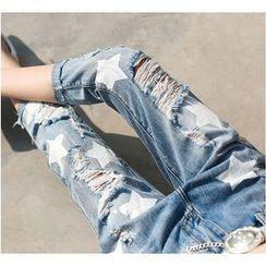 Fumoya - Distressed Star Print Capri Jeans