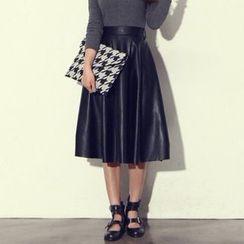Ashlee - Faux Leather Pleated Skirt
