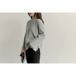 UPTOWNHOLIC - Ribbed Wool Blend Knit Top