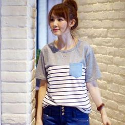 rico - Short-Sleeve Striped-Panel T-Shirt