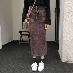 Napkiki - 抽繩羅紋針織鉛筆裙