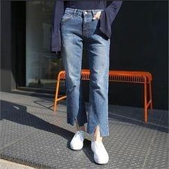 QNIGIRLS - Cutaway-Hem Straight-Cut Jeans