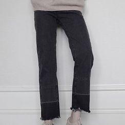 Dute - 散邊下擺拼色牛仔褲
