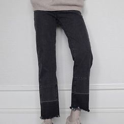 Dute - Fray Hem Color Panel Jeans