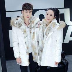 Kashen - Couple Matching Furry Trim Hooded Down Jacket