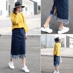 Bloombloom - Fray Hem Midi Denim Skirt