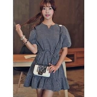 HOTPING - Frill-Hem Check Dress