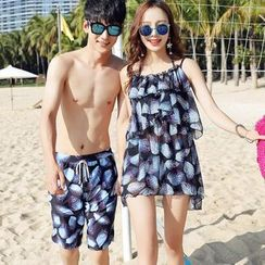 ENFOQUE - Couple Matching Swim Shorts / Set: Floral Bikini + Cover