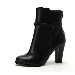 MODELSIS - Braided-Strap Genuine Leather Ankle Boots