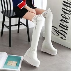 Pastel Pairs - Lace Trim Platform Over-the-Knee Boots