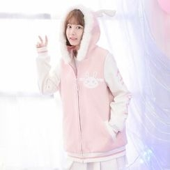 Moriville - Furry Trim Rabbit Ear Hooded Jacket