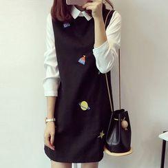 KAKAGA - 假兩件刺繡連衣裙