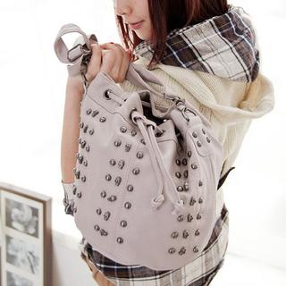 Studded Drawstring Bucket Bag