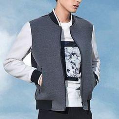 Antszone - Contrast-Color Zip Jacket