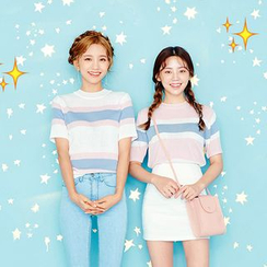 icecream12 - Short-Sleeve Color-Block Knit Top