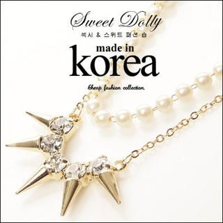 Sweet Dolly - Rhinestone Spike Double-Row Necklace