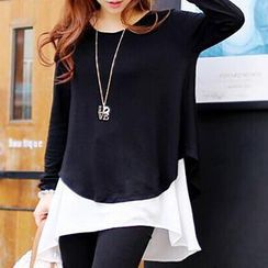 Dream Girl - Long-Sleeve Color-Block Panel T-Shirt